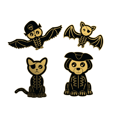 Skeleton Pirate Animals - Halloween Enamel Pin
