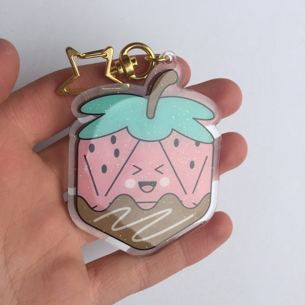 Strawberry Dice Acrylic Charm