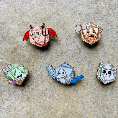 Dice Creatures 5 pack - Dungeons and Dragons Enamel Pins