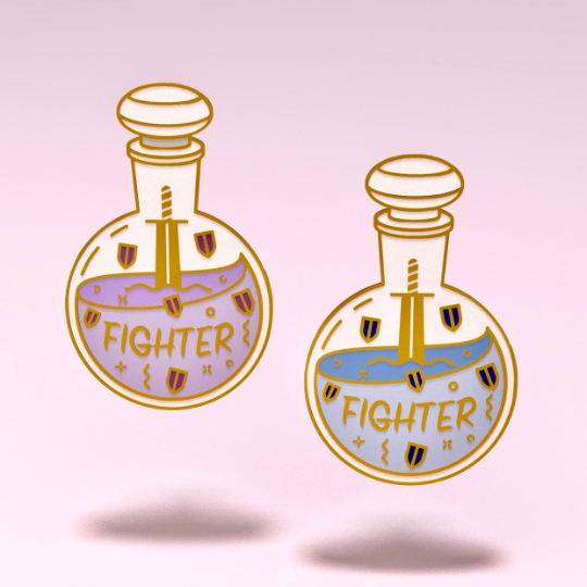 Glass Classes Fighter - Dungeons and Dragons Enamel Pin