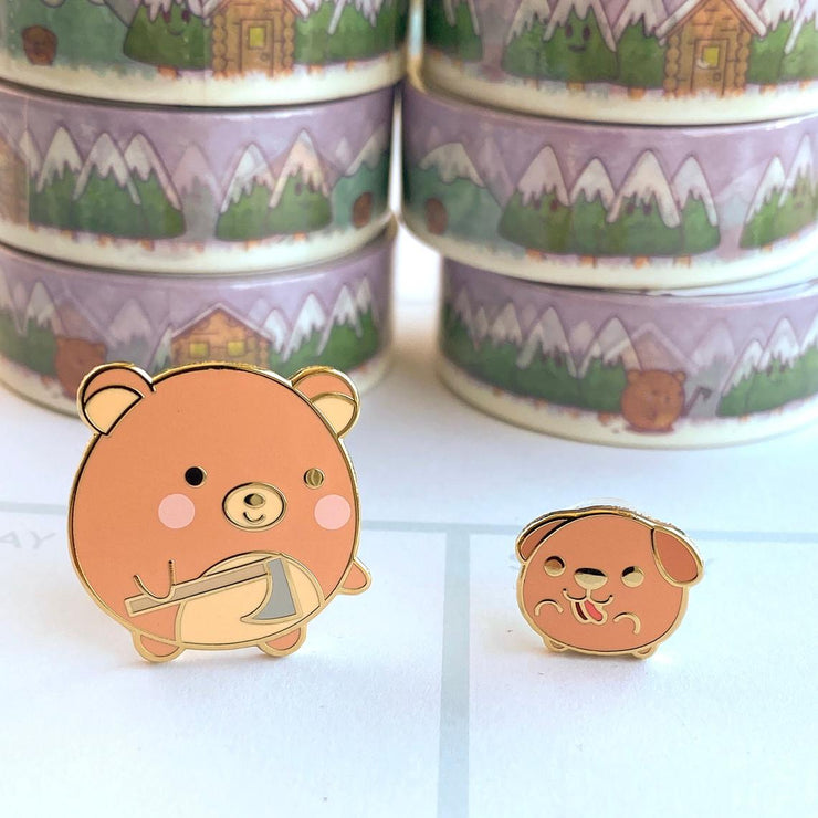 Bear and Dog enamel pin set