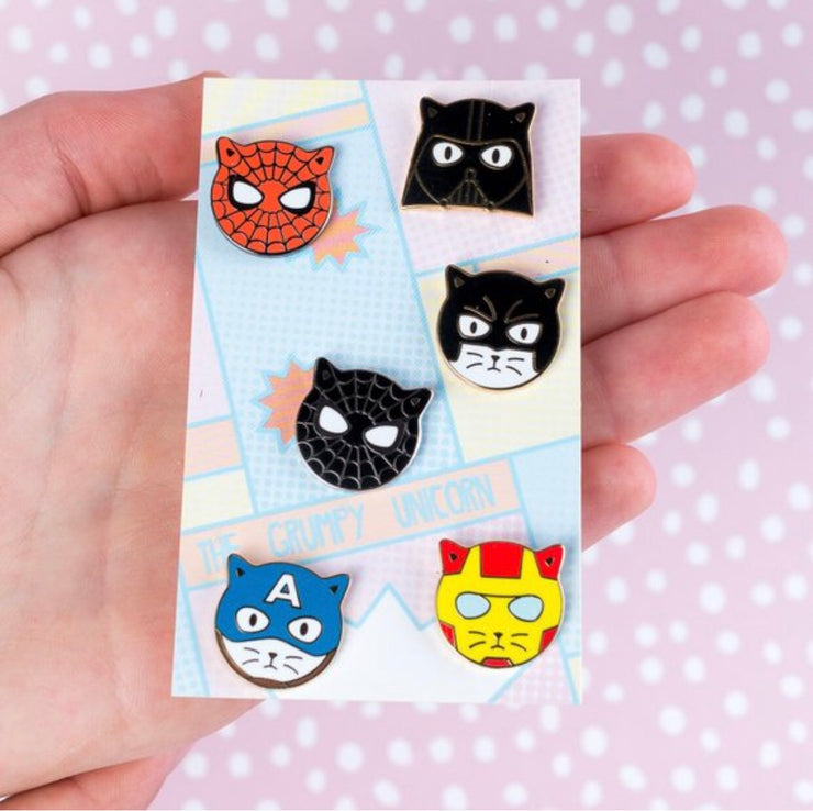 Cat Heroes - Superhero Enamel Pins