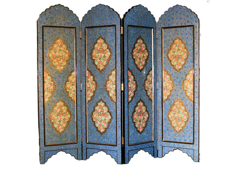 Blue and gold paper mache room divider