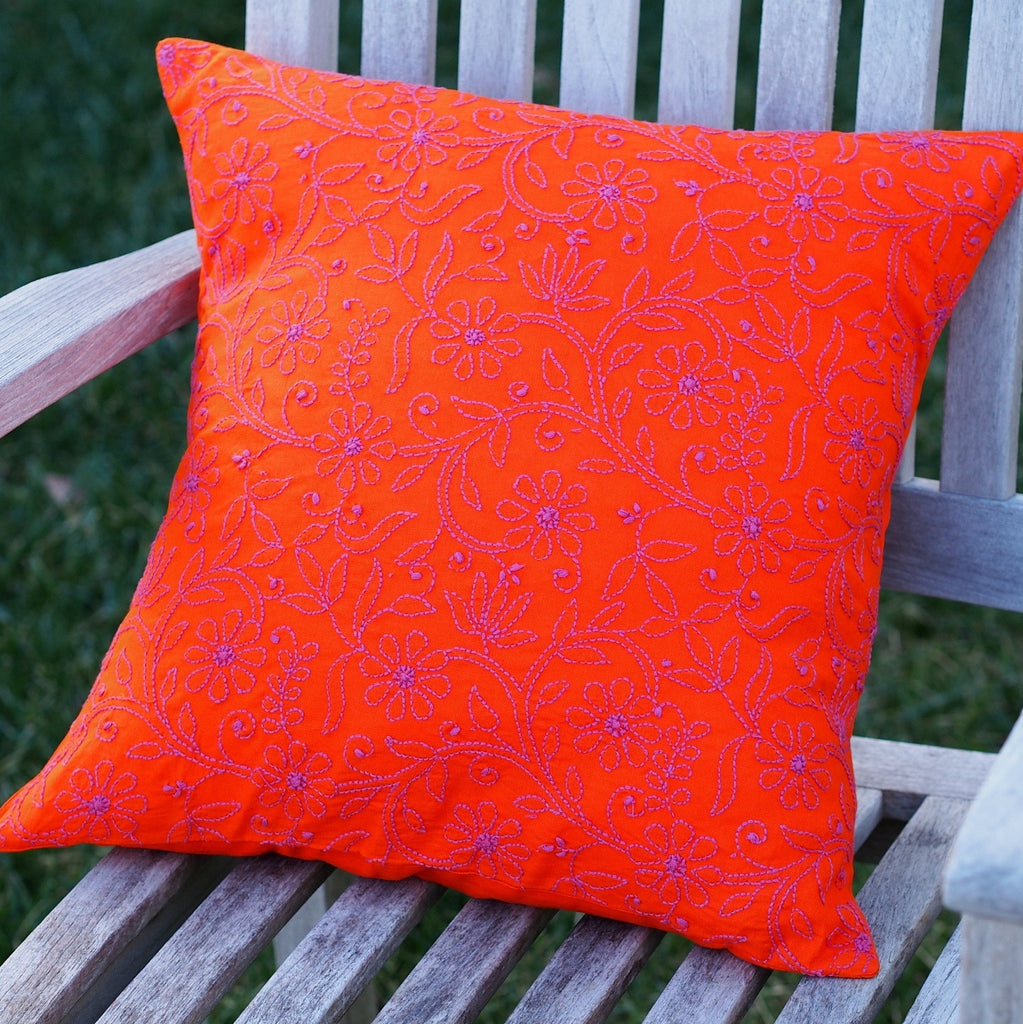 Orange Embroidered Decorative Pillow Cover