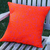 Orange Embroidered Pillow Cover