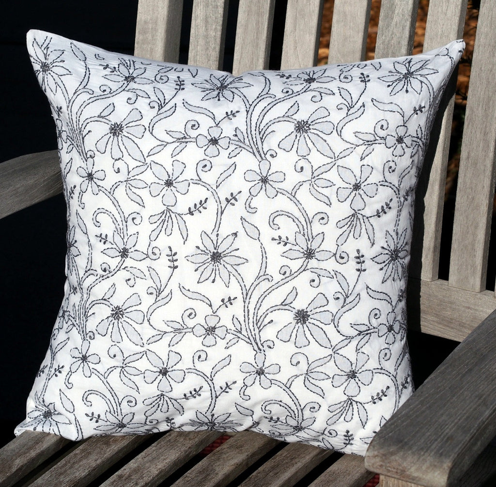 White embroidered pillow cover