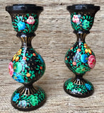 Hand Painted Paper Mache Candleholders