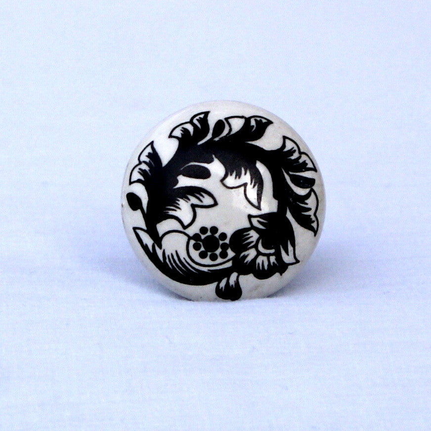 Black and White Cabinet Knob