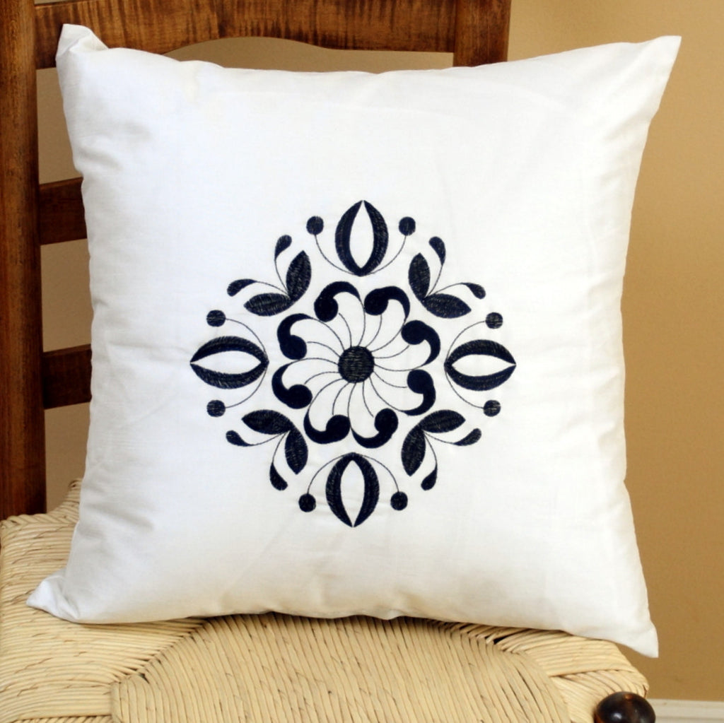 Blue and White Pillow Cover