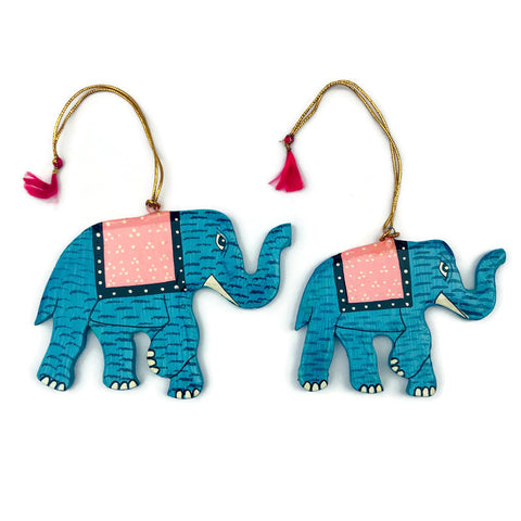 Hand Painted Wooden Elephant Holiday Ornaments