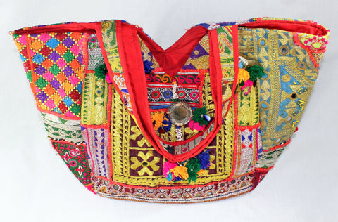 Boho Patchwork Banjara Tote Bag - Multicolor