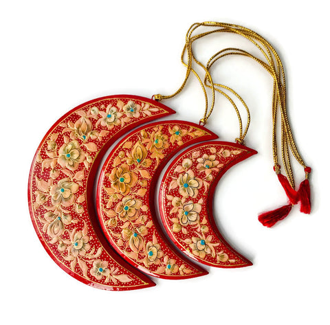 Crescent Moon Paper Mache Holiday Ornaments