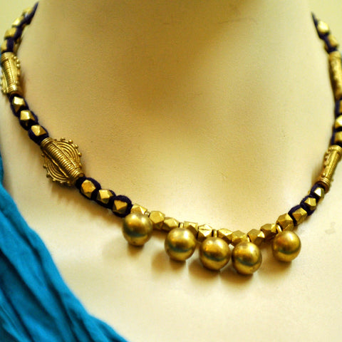 Dhokra Round Brass Bead Necklace