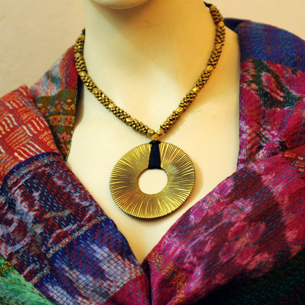 Dhokra Spiral Pendant Necklace