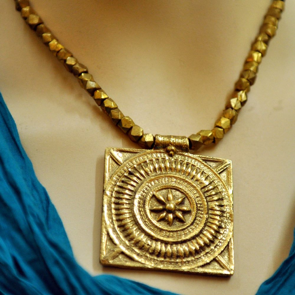 Dhokra Square Pendant Necklace