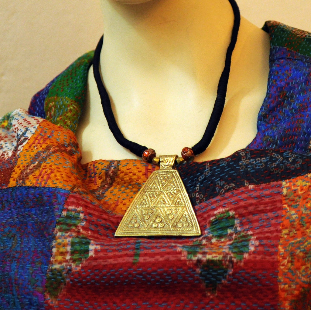 Dhokra Triangle Pendant Necklace