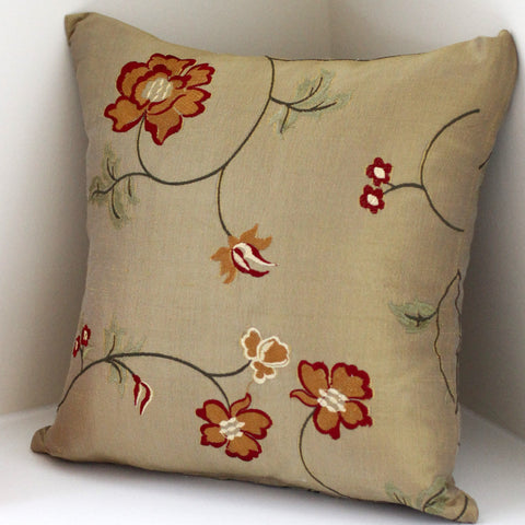 Gold Embroidered Silk Pillow Cover