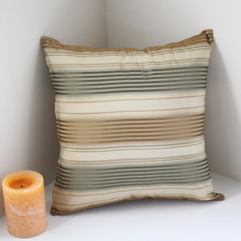 Gold Striped Silk Pillow Cover