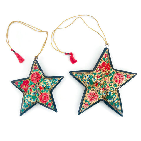 Star Paper Mache Holiday Ornaments