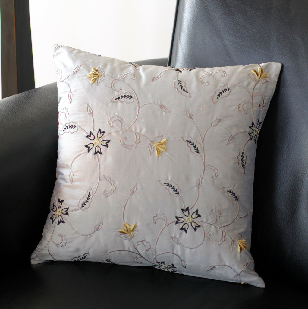 Grey Embroidered Silk Pillow Cover