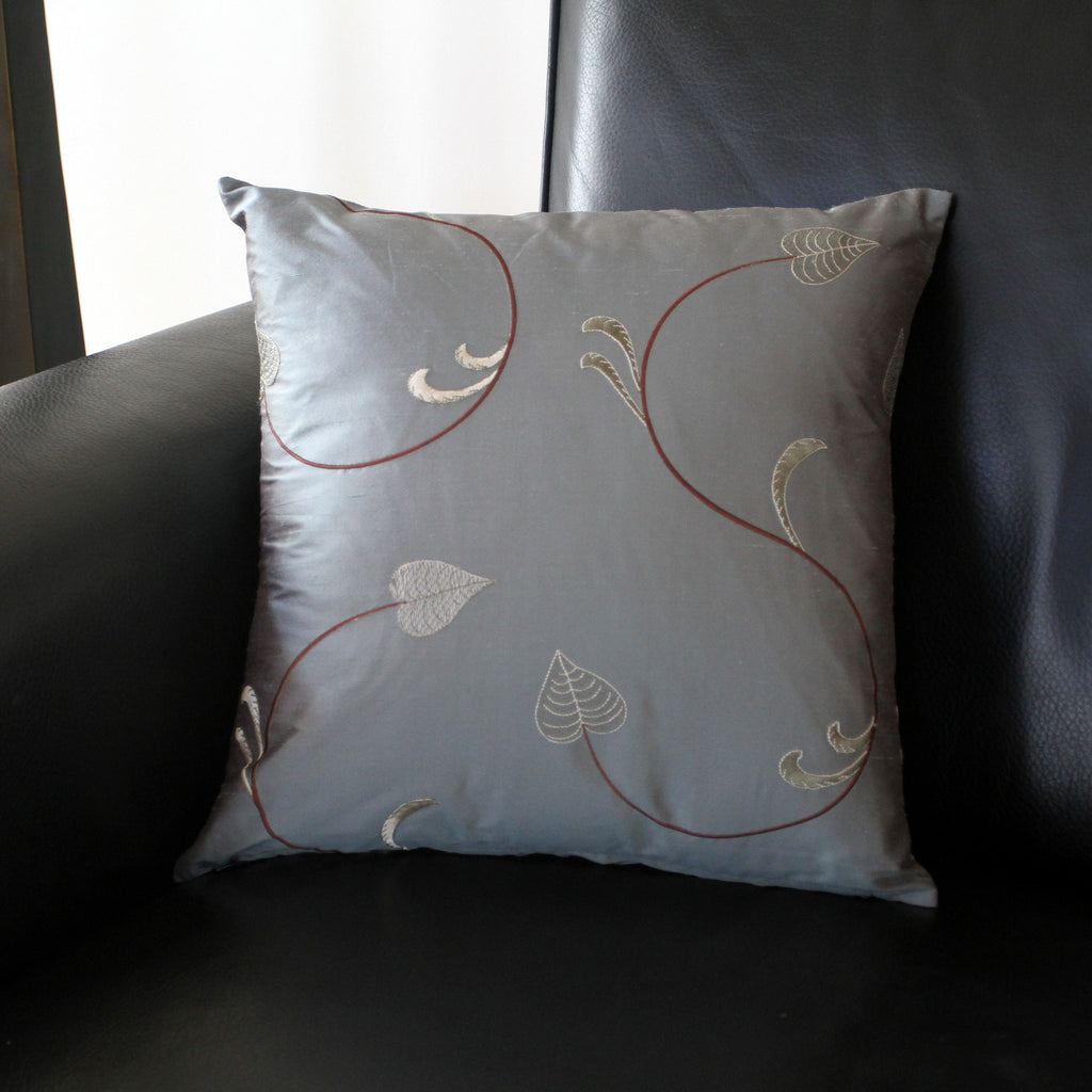 Grey Leaf Silk Pillow Cover
