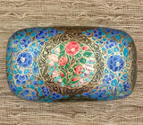 Blue and Gold Floral Paper Mache Jewelry and Trinket Box