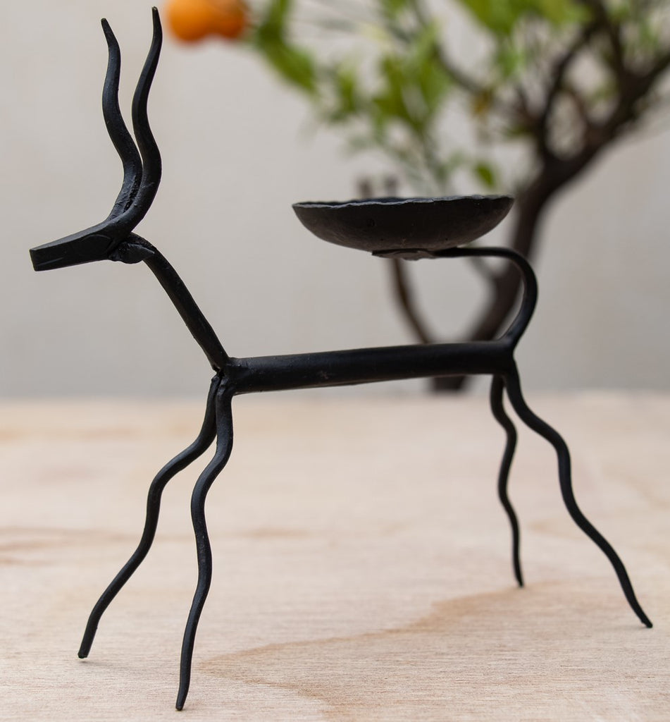 Hand Crafted Metal Deer Candle Holder