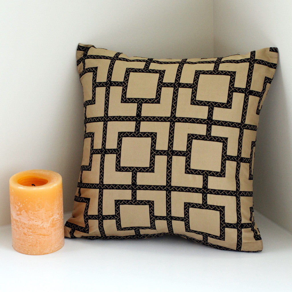 Black and Gold Geometric Print Silk Pillow Cover