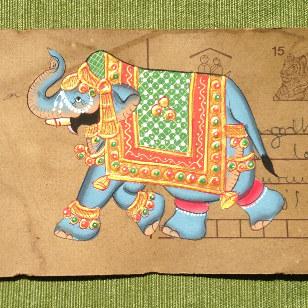 Vintage postcard painting with an elephant