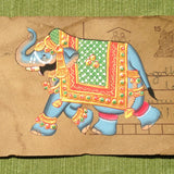 Vintage Postcard Painting-Blue Elephant