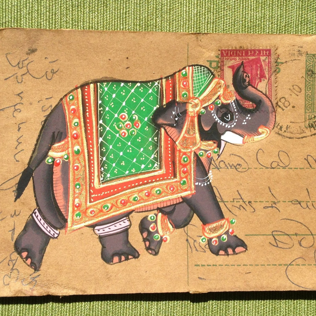 Vintage postcard painting with elephant