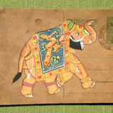 Vintage Postcard Painting-Yellow Elephant