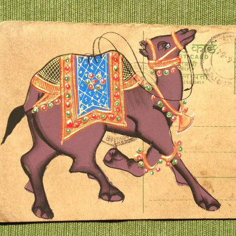 Vintage postcard painting with camel