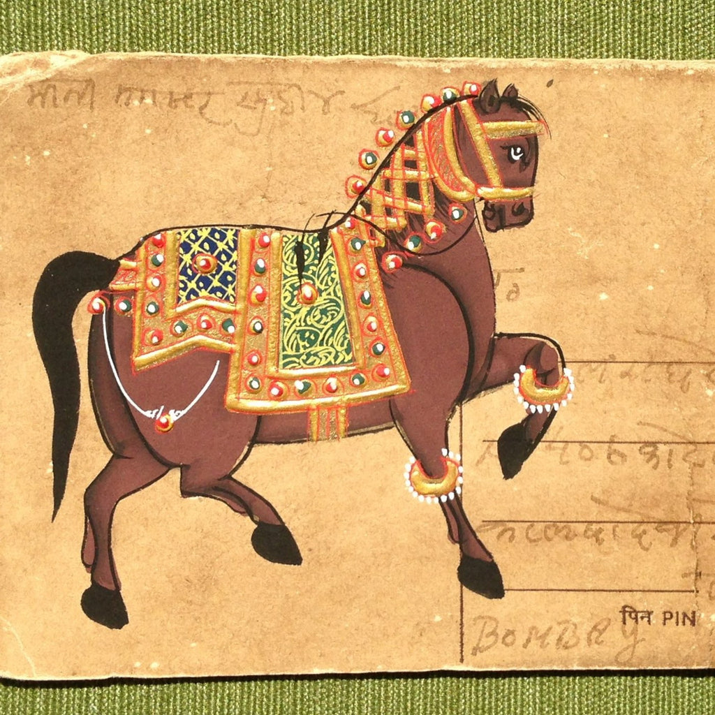Vintage postcard painting with horse