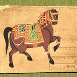 Vintage Postcard Painting-Brown Horse