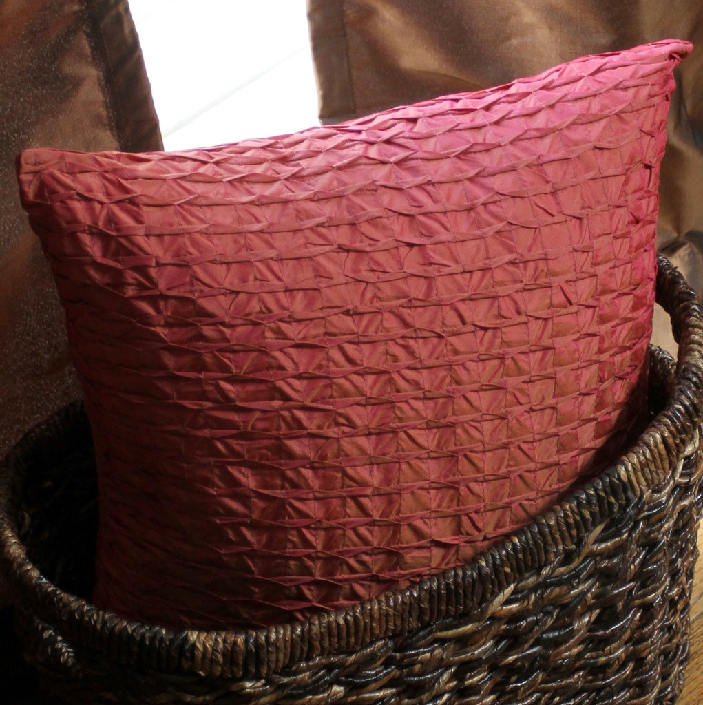 Ruched Pink Pillow Cover