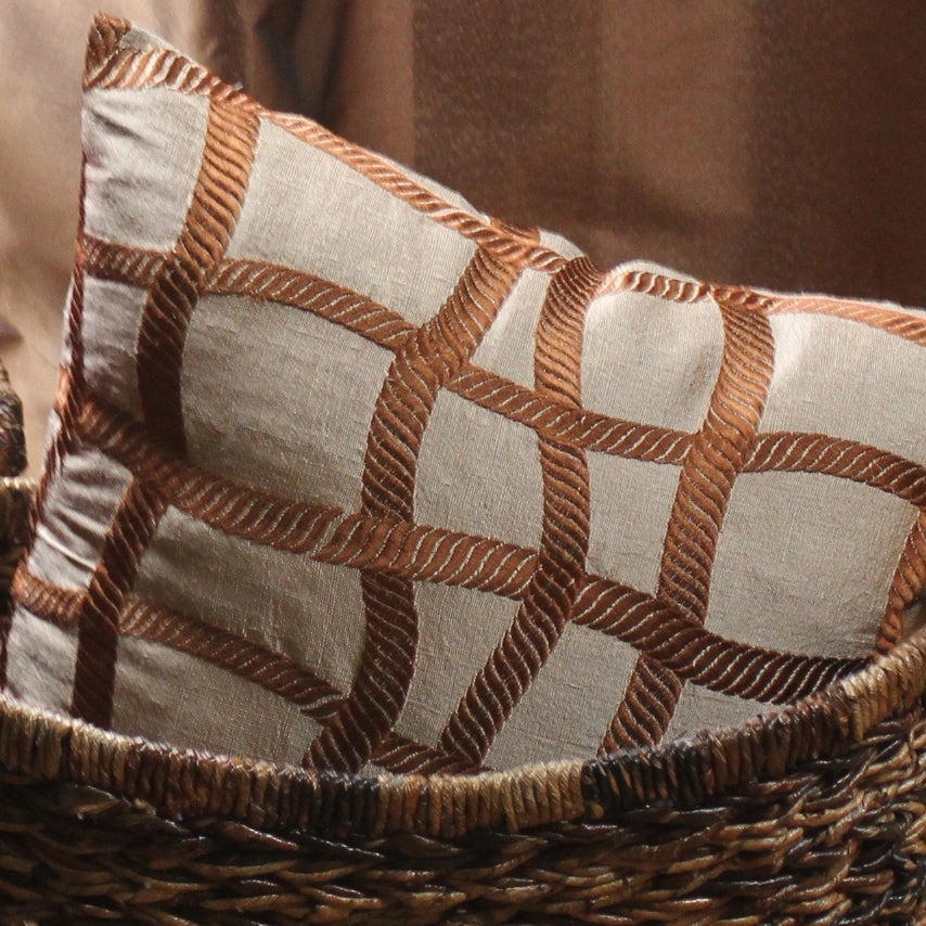 Tan and brown silk pillow cover