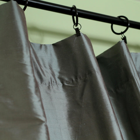 Grey dupioni silk curtains