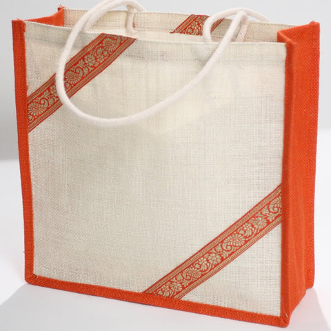 Ecru and Tangerine Jute Tote Bag