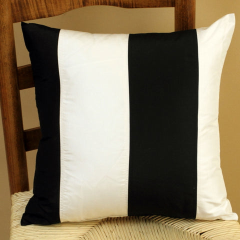 Black and white striped silk pillow cover