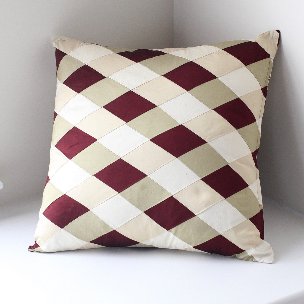 Silk patchwork decorative pillow cover