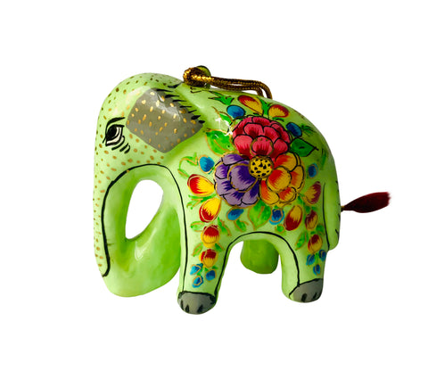 Hand Painted Paper Mache Elephant Holiday Ornaments
