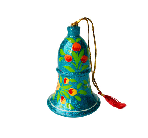 Hand Painted Paper Mache Bell Holiday Ornaments