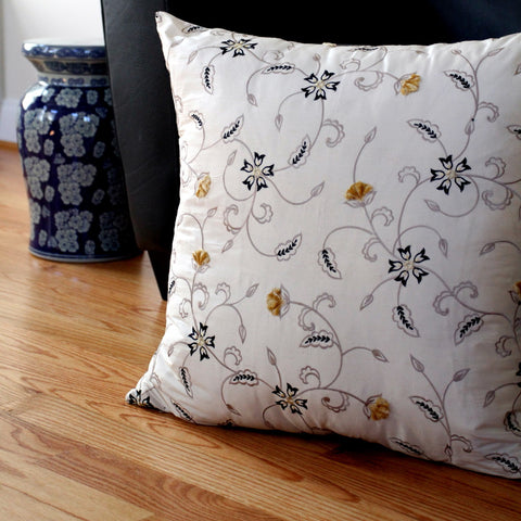 Ecru Embroidered Floral Silk Pillow Cover