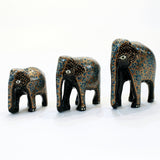 Blue and Gold Paper Mache Elephants