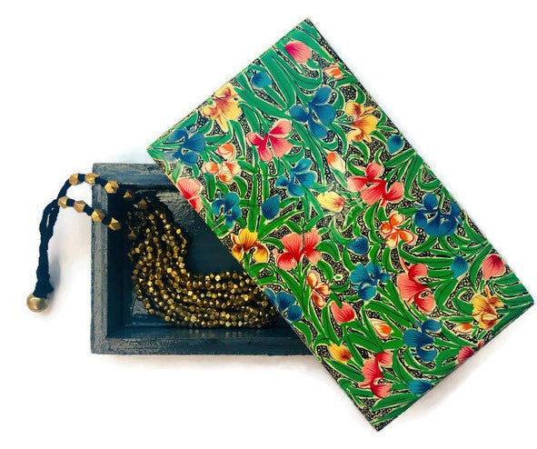 Rectangular Floral Jewelry and Trinket Box