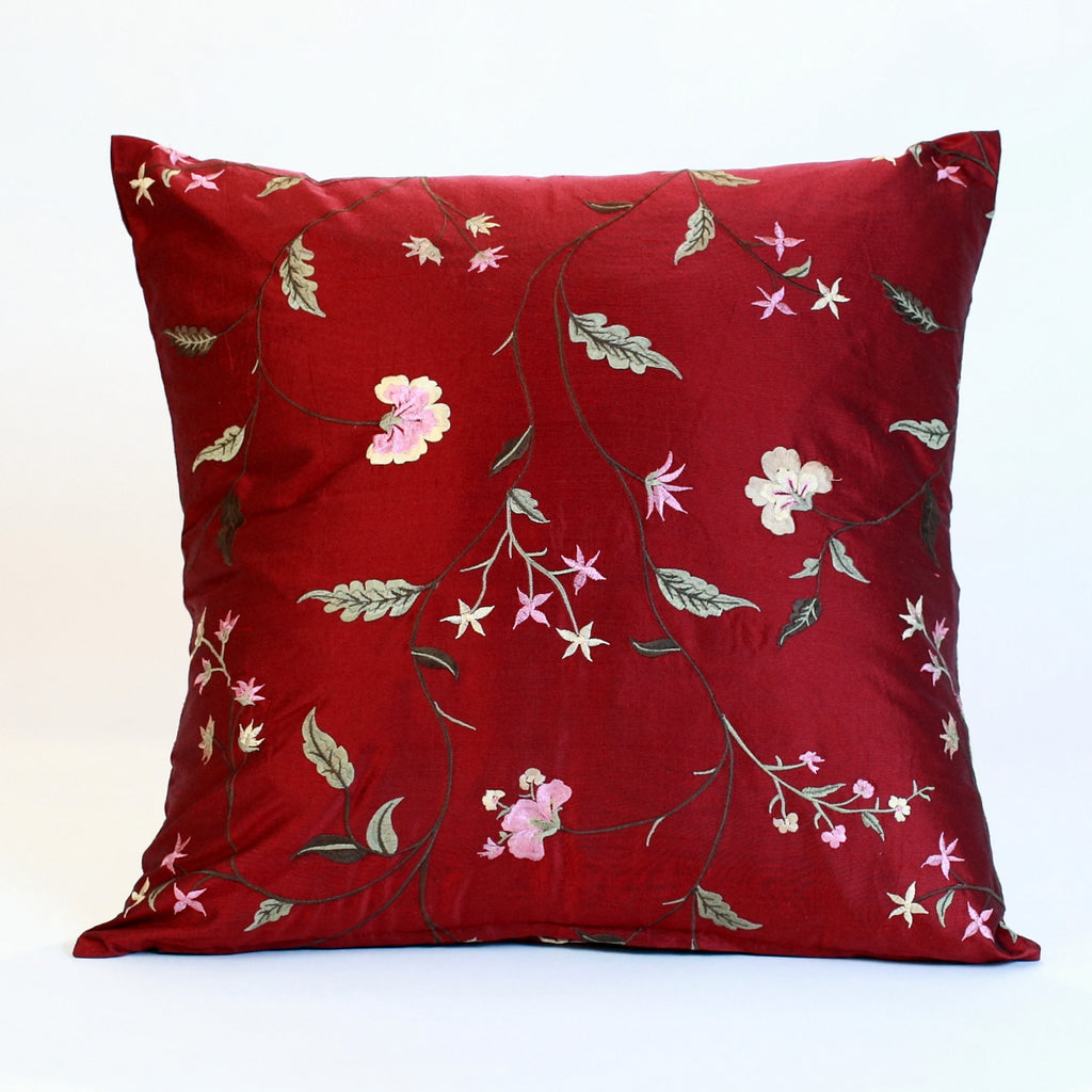 Red Embroidered Silk Pillow Cover