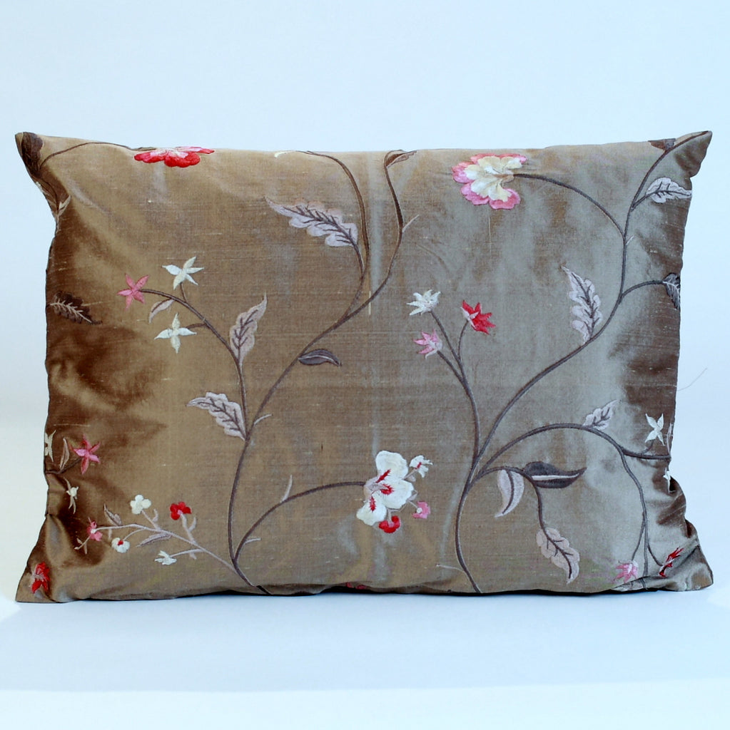 Silk embroidered pillow cover