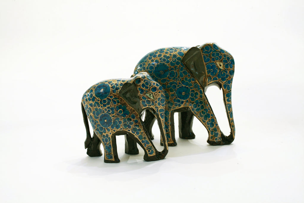 Teal and Gold Decorative Elephants