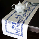 Blue and White Block Print Boho Table Runner